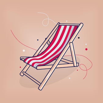 Vibrazioni estive della sedia da spiaggia vector flat illustration