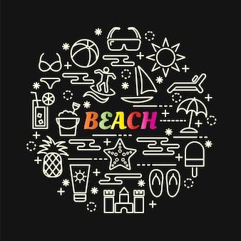 Gradiente colorato spiaggia con set di icone di linea