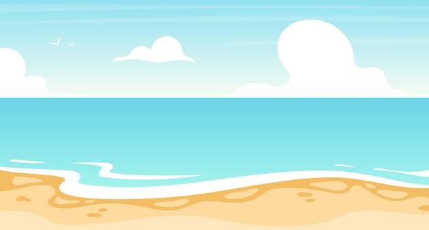 Illustrazione piatta spiaggia. oceano estivo, sfondo di paesaggi marini. località di villeggiatura, costa dell'isola. paradiso soleggiato, laguna turchese. priorità bassa del fumetto di vista sul mare, carta da parati