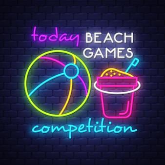 Iscrizione del segno al neon della concorrenza dei giochi della spiaggia