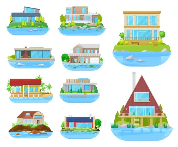 Icone isolate di costruzione di casa sulla spiaggia con case, ville, cottage e bungalow, immobili in riva al mare.
