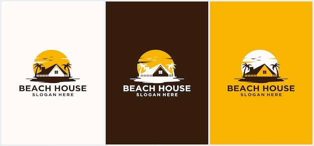 Design del logo della casa sulla spiaggia logo dell'hotel logo dell'hotel del resort sulla spiaggia modelli di logo per le vacanze al mare