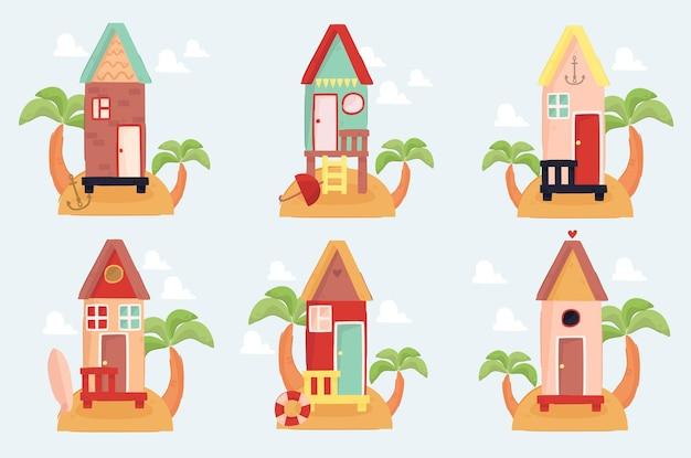 Collezione di illustrazioni di case sulla spiaggia