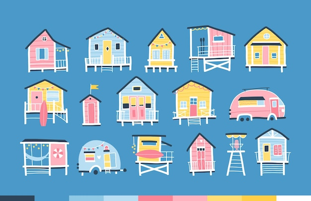 Case sulla spiaggia e rimorchi. simpatico vivaio estivo cartone animato in semplice stile scandinavo infantile disegnato a mano. piccoli edifici tropicali in una tavolozza di colori pastello. ideale per la stampa.