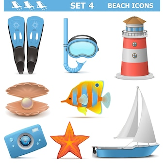 Beach icons set 4 isolato