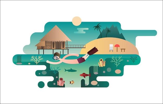 Concetto di piatto design isola spiaggia. vacanze di viaggio, mare estate, palme e natura, oceano e sole, albero tropicale,