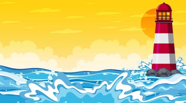 Paesaggio della spiaggia alla scena del tramonto con l'onda dell'oceano