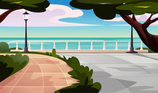 Vista del paesaggio della spiaggia sul parco