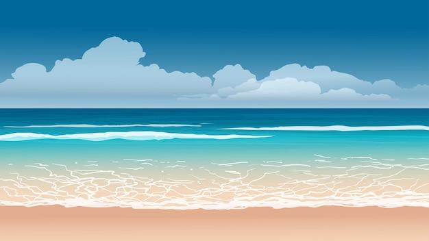 Paesaggio della spiaggia con onde e nuvole