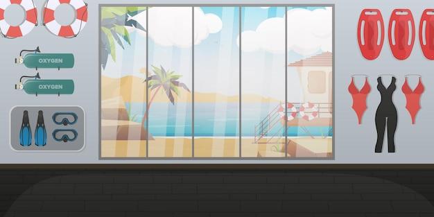 Stanza del bagnino di spiaggia. tavola da nuoto, salvagente anulare, pinne e maschera, bombola di ossigeno. stile cartone animato.
