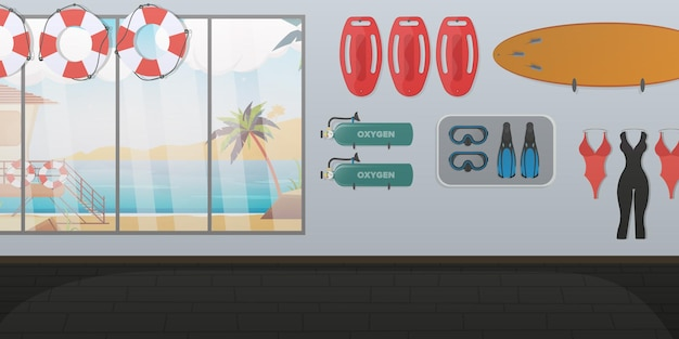Stanza del bagnino di spiaggia. tavola da nuoto, salvagente anulare, pinne e maschera, bombola di ossigeno.