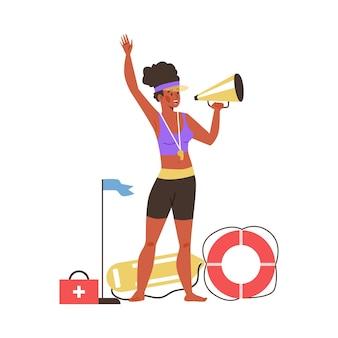 Donna del bagnino della spiaggia che fa annuncio con il megafono, illustrazione di vettore piatto isolato su priorità bassa bianca. il membro della squadra di soccorso garantisce la sicurezza in spiaggia.
