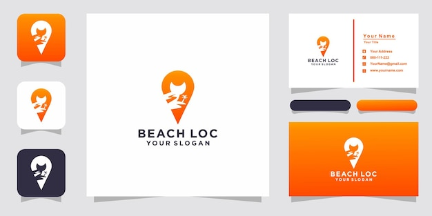 Logo e biglietto da visita della posizione della spiaggia