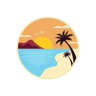 Modello di progettazione di logo di spiaggia