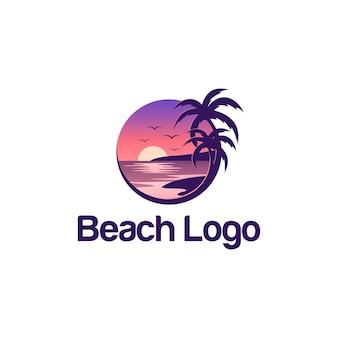 Modello di progettazione del logo della spiaggia