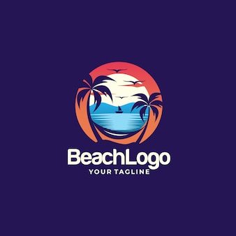 Beach logo design template vettoriale