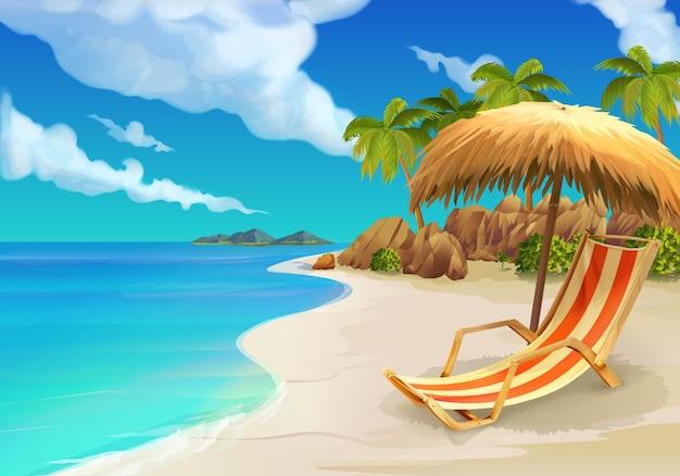 Spiaggia e sedia a sdraio