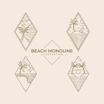 Disegno dell'illustrazione monolinea della spiaggia