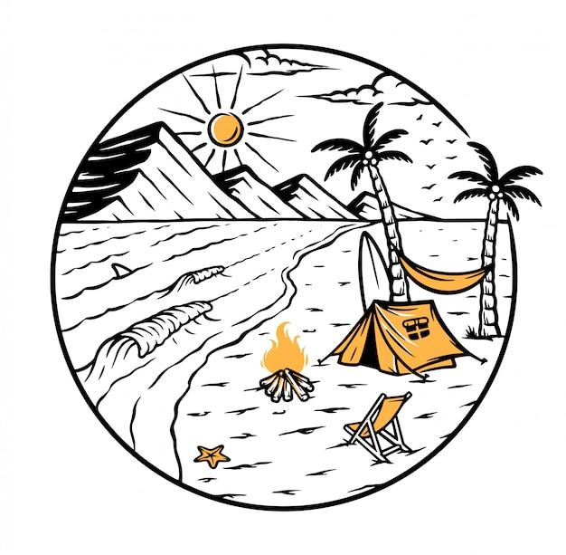 Illustrazione di vista sulla spiaggia e sulle montagne