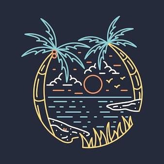 Disegno della maglietta dell'illustrazione grafica della linea di notte selvaggia di avventura della natura della spiaggia