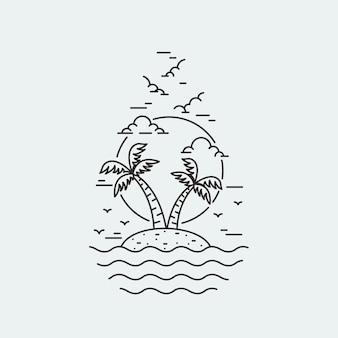 Spiaggia natura estate monoline illustrazione