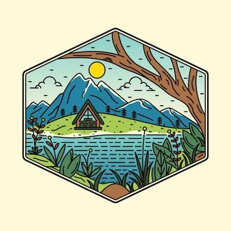 Spiaggia natura estate wild line badge patch pin illustrazione grafica