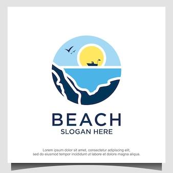 Modello di progettazione del logo dell'oceano della spiaggia