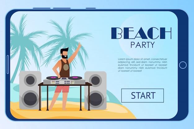 Pagina di destinazione mobile del fumetto dell'invito del partito della spiaggia