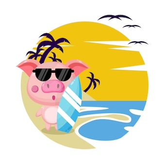 Simpatico personaggio estivo maiale da spiaggia