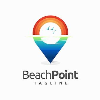 Logo del punto spiaggia con concetto di colore sfumato