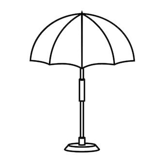 Icona lineare dell'ombrellone da spiaggia o da piscina illustrazione al tratto sottile