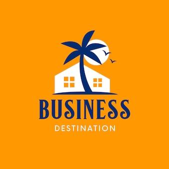 Modello di logo immobiliare spiaggia