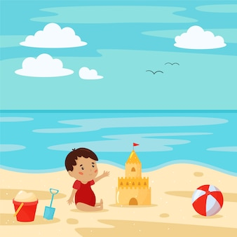 Scena della spiaggia con bambino, castello di sabbia, pallone da spiaggia, secchio e pala. personaggio dei cartoni animati. vacanze estive.