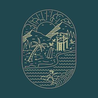 Spiaggia mare natura selvaggia illustrazione grafica arte t-shirt design