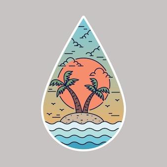 Illustrazione grafica del perno della toppa del distintivo della linea di vacanza estiva del mare della spiaggia
