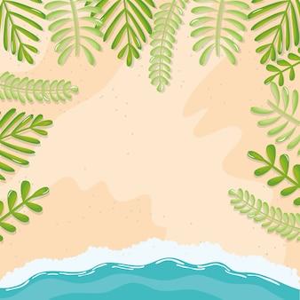 Paesaggio marino spiaggia con foglie cornice scena estiva