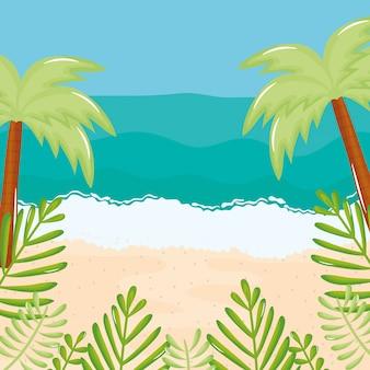 Paesaggio marino spiaggia con alberi scena estiva palme