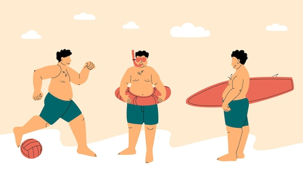 Sport da spiaggia felice uomo grassoccio o grasso in costume da bagno concetto positivo del corpo attivo