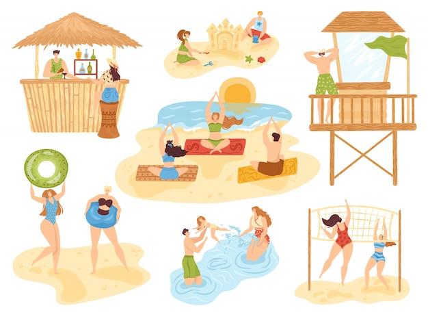 Set di attività estive in spiaggia di illustrazione, persone sul mare, sport divertente e attivo, collezione di spiaggia per le vacanze. yoga, bar sulla spiaggia, nuoto in famiglia, bambini con attività sulla sabbia e relax.