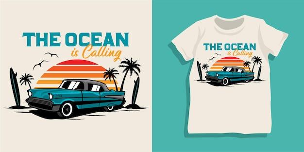 Design tshirt per auto estiva da spiaggia