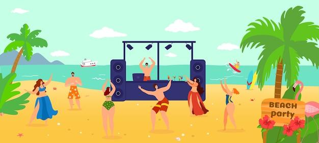 Festa di musica dj estiva in spiaggia