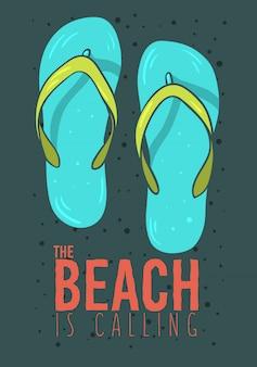 Progettazione del manifesto di estate della spiaggia con le illustrazioni disegnate a mano delle scarpe di spiaggia delle pantofole di flip-flop.