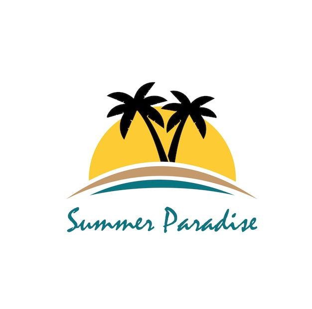 Logo di tema spiaggia ed estate con modello di disegno tre palme