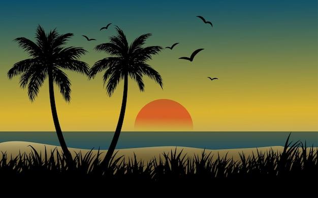Paesaggio al tramonto sulla spiaggia con erba di palme e uccelli