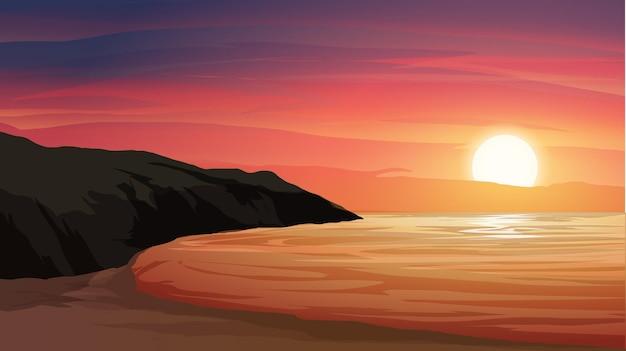 Paesaggio al tramonto sulla spiaggia con roccia