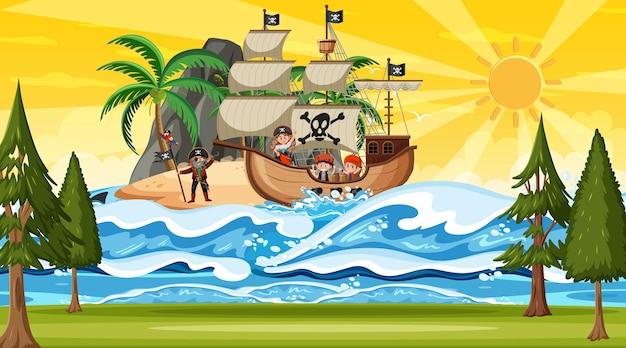 Spiaggia alla scena del tramonto con il personaggio dei cartoni animati dei bambini pirati sulla nave