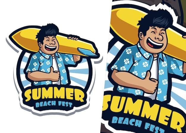 Illustrazione del logo della mascotte del surfista della spiaggia
