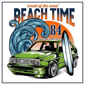 Etichetta dei tempi della spiaggia