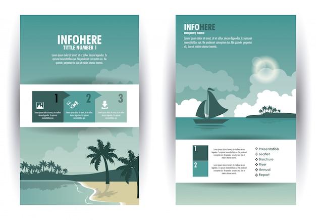 Infografica di spiaggia e viaggi