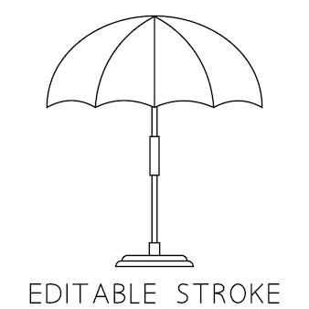 Ombrellone da spiaggia icona lineare di ombrellone da spiaggia o da piscina illustrazione al tratto sottile simbolo di contorno